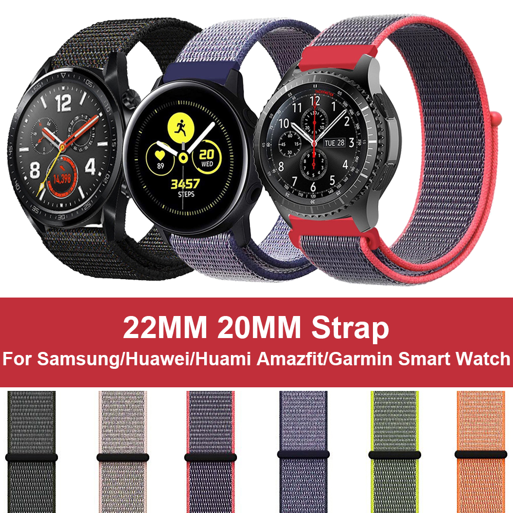 22mm 20mm Nylon Loop Band For <font><b>Samsung</b></font> Galaxy <font><b>Watch</b></font> Active <font><b>46mm</b></font> S3 Strap <font><b>Bracelet</b></font> For Amazfit Bip GTR Huawei Garmin Vivoactive3 image