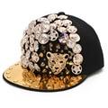 2017 Hot Novelty Fashion Baseball Cap Black Metal Leopard Head Rivet Hat High Quality Wholesale Women Men Brand New Hip hop Cap
