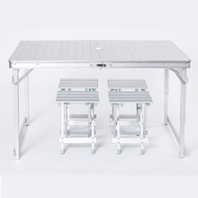 Outdoor leisure aluminum folding table and chairs simple picnic stall camping activity portable