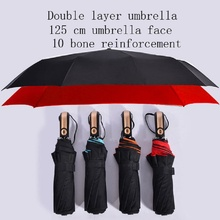 Direct sales new ten bone tri-fold umbrella Mens business creative automatic folding 125 cm enlarged