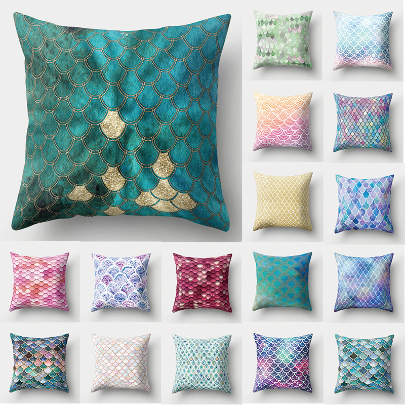 Nice 1pcs Mermaid Fish Scale Pattern Polyester Throw Pillow Cushion Cover Car Home Decoration Sofa Bed Decorative Pillowcase 40507 Excellent In Cushion Effect Candles & Holders Home Decor