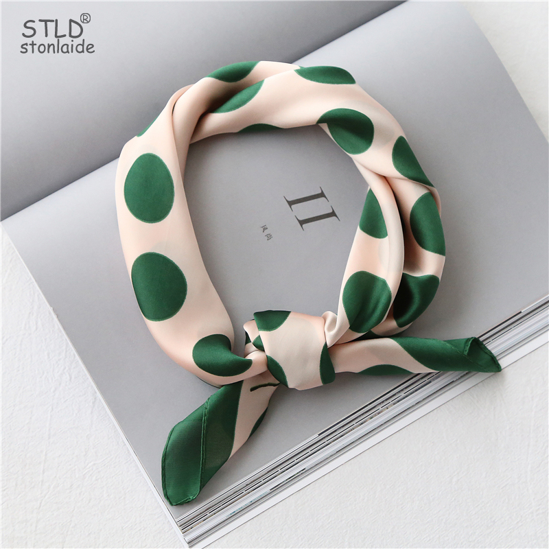 Women Silk Scarf Small Square Silk Scarves NeckerChief Satin Kerchief For Girls Dots With Anima Printed Fahsion Neck Hair Scarfs