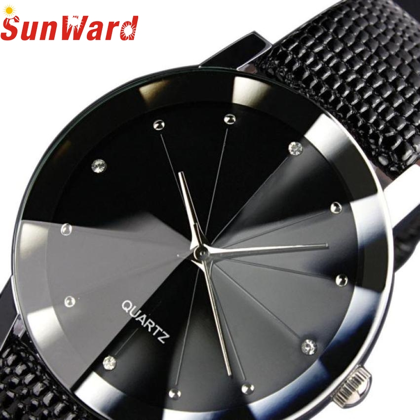 SunWard Women Watch 2017 New Fashion Luxury Quartz Sport Military Stainless Steel Dial Leather Band Wristwatches Men saat May26 onlyou brand luxury fashion watches women men quartz watch high quality stainless steel wristwatches ladies dress watch 8892
