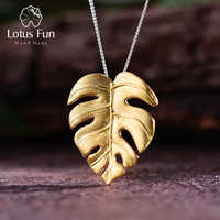 Lotus Fun Real 925 Sterling Silver Handmade Fine Jewelry 18K Gold Monstera Leaves Design Pendant without Necklace for Women Gift