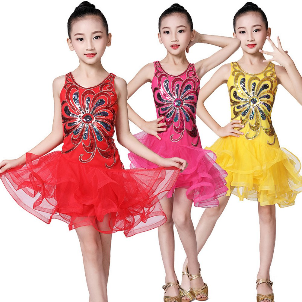 Kids Girl Fringe Latin Dance Dress Tango Sequin Beaded Embroidery Sexy Salsa/Ballroom/Tango/Cha Cha Competition Constume