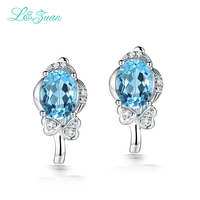I&Zuan 925 sterling silver white gold fine jewelry Natural topaz blue oval stone clip earrings for women accessories earring