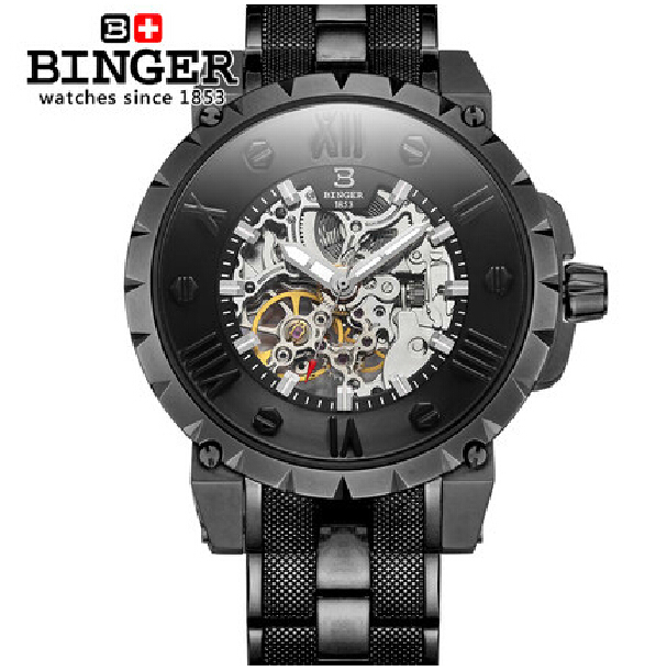 Switzerland BINGE watches men luxury brand mechanical hand wind full stainless steel Wristwatches water resistant B-5032-3 fashion men mechanical hand wind watches men skeleton stainless steel wristwatches for male luxury golden watch men