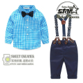 2016 Brand Handsome Baby Boys Long Sleeve Shirts + Suspender Long Pants Suit Children Clothes Set Boys Party Wedding Outfits