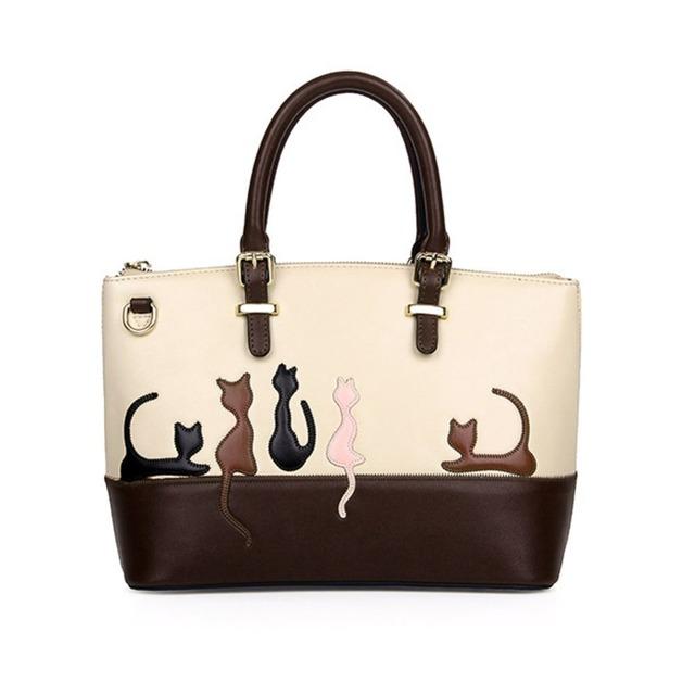 Cute cat padrão bolsa de couro das mulheres saco do mensageiro crossbody sacos de ombro médio senhora bolsas de embreagem do sexo feminino bolsa tote sac