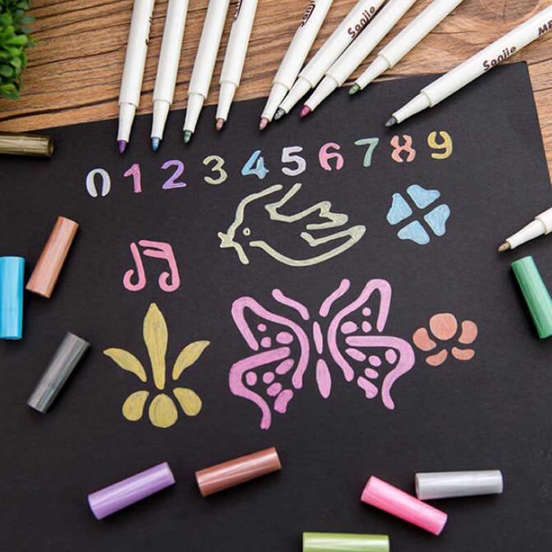 Los niños Graffiti de la pluma de escritorio DIY álbum de fotos mano cuenta de Metal de Color de pintura de la pluma Color de la perla de la boda en la pluma