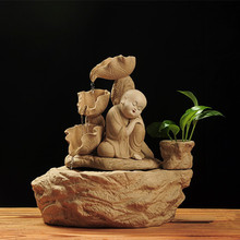 Aromaterapia Encens Free Shipping Ceramic Arts And Crafts Zen Child Splashing Water Humidifier Home Office Decoration Wholesale 2019 limited encens tong qu fo fish plutus home furnishing articles atomizing humidifier manufacturers selling arts and crafts