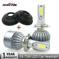 PANYUE LED Super Bright Auto H4 LED Headlight H7 H4 Car Light Low Beam COB Chip