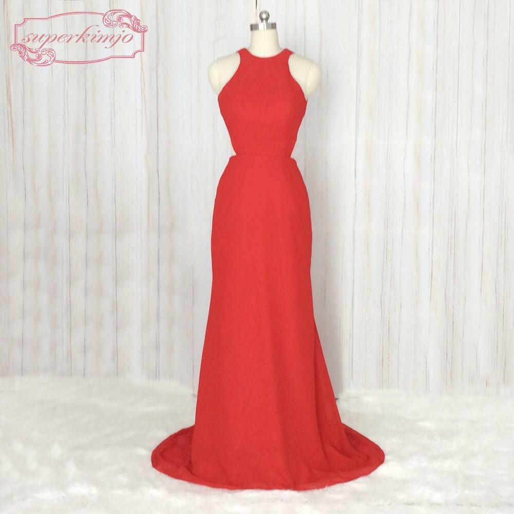 superkimjo sin mangas backless de la sirena dama de honor vestidos para bodas elegante largo rojo