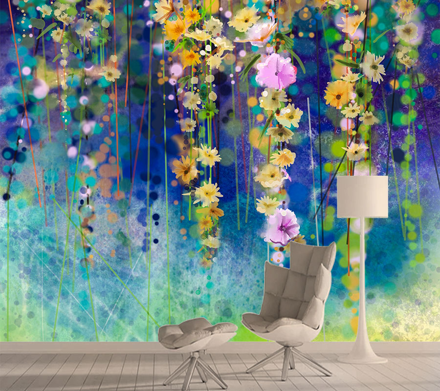 8d Silk Wallpapers For Living Room Mural Wallpaper 3d Wall Contact Paper Papers Home Decor Self Adhesive Ivy Flower Murals Rolls