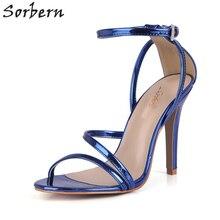 05aa9a4bbf58d Sorbern Royal Bleu Bout Ouvert Sandales Pour Femmes Talons hauts Femme  Chaussures À Bout Ouvert Haute