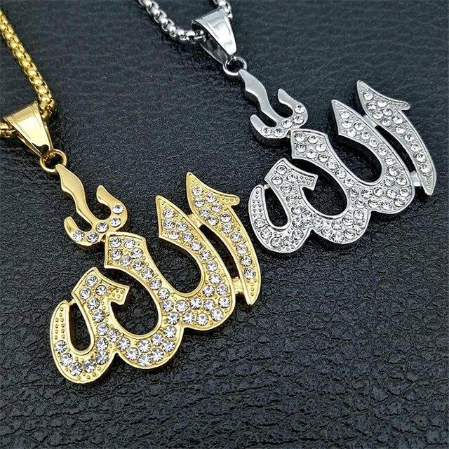 Dropshipping Hip Hop buzlu Out Bling İslam Allah kolye kolye kadınlar ve erkekler için paslanmaz çelik müslüman takı toptan