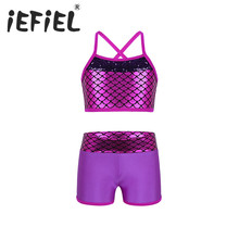 iEFiEL Kids Girls Sequined Ballet Tutu Ballerina Fancy Tankini Outfit for Ballet Dance Gym Workout Stage Performance Clothes