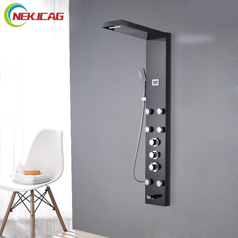 Smart Thermostatic Digital Screen Waterfall Bathroom Shower Message Jets Bath Hot And Cold Shower Panel 1 8x1 8m peva bathroom shower curtains moldproof waterproof 3d thickened household bathroom shower curtain plastic bath screen