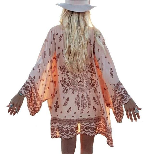 Kobiety Koszula Sweter W Stylu Vintage Geometria Drukuj Bluzka Kimono Boho Loose Szal Pani Czeski Płaszcz Kurtka Dwa Kolor