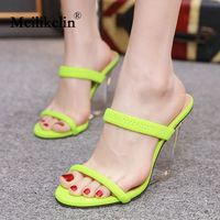 2019 fashion women's shoes sandals platform slip on Crystal clear wedge sandal block high heels lady party dress woman shoes 40