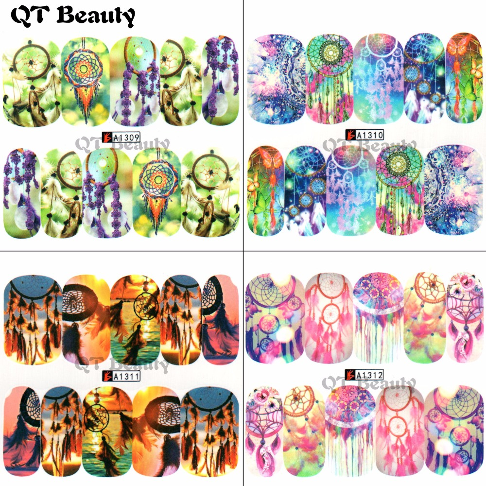 Hot Selling Watermark Nail Sticker Water Transfer Windmill Feather Decal Women Full Cover Tip for Nail Art Fashion QA1309-1312 4 packs lot full cover white french smile lace tattoos sticker water decal nail art d363 366w