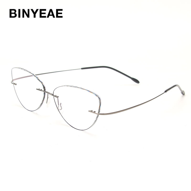 2131512e12 BINYEAE Rimless Cat Eye Fashion Eyeglasses Optical Prescription Eyewear  Glasses Frame