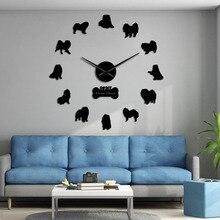 Dog-Mirror-Stickers Watch-Decor Wall-Clock Chow Chow Frameless Gift DIY Giant 3D Mute