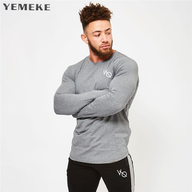 YEMEKE Fashion Brand Solid Color   T     Shirt   New 2018 Autumn And Winter Man   T  -  Shirt   Long Sleeved Casual O-Neck Tops   T     Shirt   M-2XL