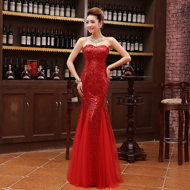 2016 Fashion Red Strapless Sequins Long Evening Dress Chinese Wedding Qipao Cheongsam Womens Lace Dresses Party Gown LS007