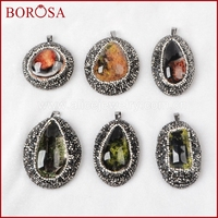 BOROSA Natural Phantom Quartz Stone Pendant Beads Multi Shape Stone Pave CZ Around Pendant Druzy Pendnat
