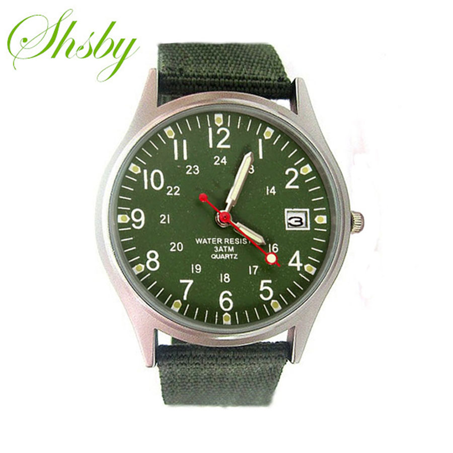 Shsby men Nylon strap calendar outside sports watches male business watch Men's