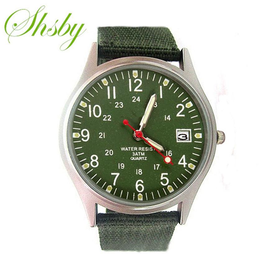 Shsby men Nylon strap  calendar outside sports watches male business watch Mens Military Watches fashion reloj hombre