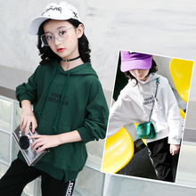 Купить с кэшбэком Girls Sweater Spring Autumn Cotton Letter Embroidered Sports Casual Tops Hooded Long Sleeve Tops Children's clothing