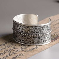 hot sell new free shipping Vintage silver Retro drawing wide opening palace Bracelet armlet bangle