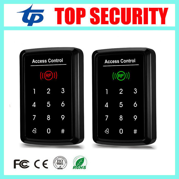 Free shipping 125KHZ smart card access control system touch keypad password door control card reader with 10pcs RFID card key 125khz rfid card waterproof metal case fingerprint access control system f102 with remote control 10pcs key card