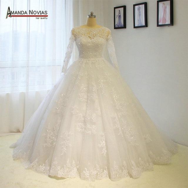 Vintage trouwjurk prinses baljurk volledige kant bruids jurk
