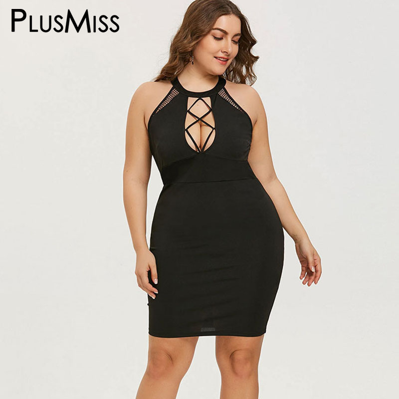 Aliexpresscom  Buy Plusmiss Plus Size 5Xl Halter Sexy Night Club Wear Party Dresses Summer 2018 Lace Up Backless Bodycon Mini Short Dress Big -7938