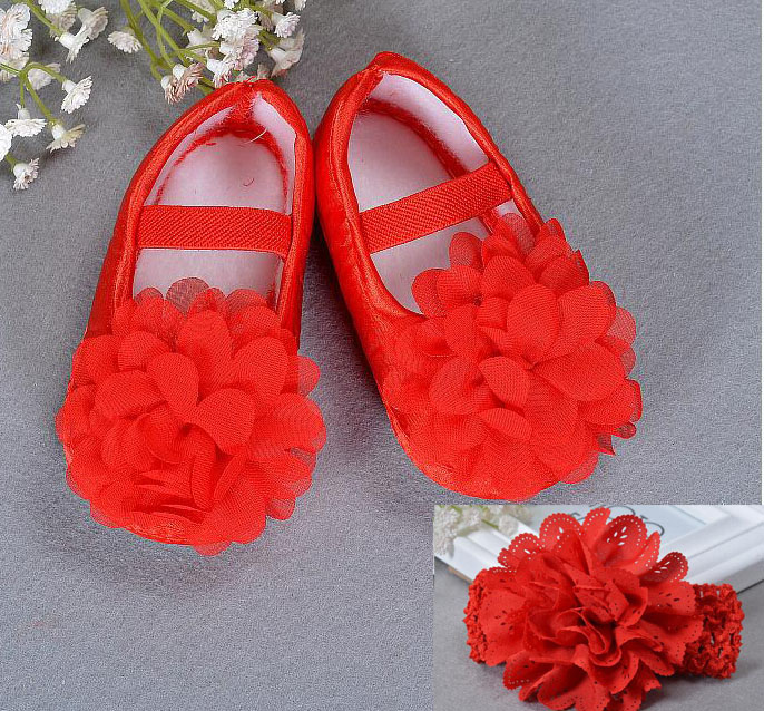 ed1f383da1468 cotton Soft Sole Flower Newborn Baby Girl Christening bed Shoes Baptism  Lovely Chaussure Bebe Fille First