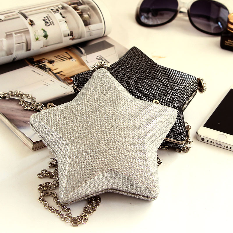 fashion new Five-pointed star style Diamond Clutch Gorgeous Bridal Bag, evening bags,women clutch bags