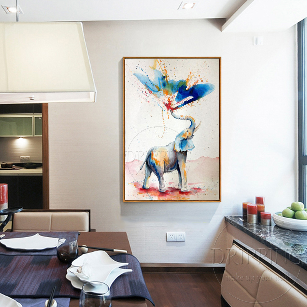 Fashion Design Vivid Colors Modern Elephant Oil Painting Hand ...