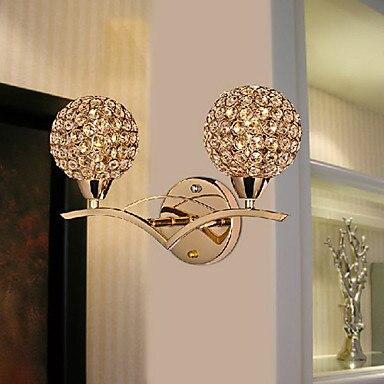 lmparas de pared de cristal de oro de doble bolas llevados modernos de cristal lmpara de