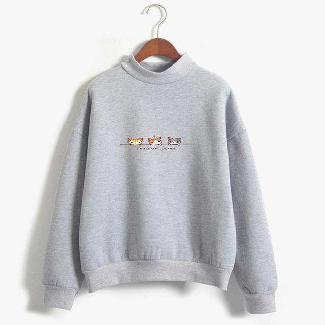 Hoodie Women 2018 Female Harajuku Long Sleeve O-neck Fleece Kawaii Cartoon Cat Sweatshirt Tracksuit Sweat Coat Casual Sportswear