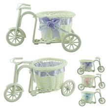 Happy Sale big wheel round basket rattan floats flower vase flowerpots containers small bike/flower