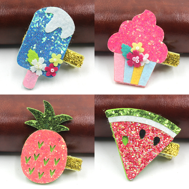 1 PCS 2017 New Fashion Cartoon Ice Cream Pineapple Hairpins Girls Hair Accessories Children Headwear Baby Hair Clips Headdress 1 pcs fashion cute dimensional flowers baby hairpins girls hair accessories children headwear princess barrette kids hair clips