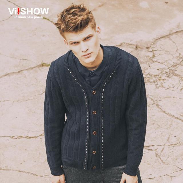 Viishow 2016 moda outono inverno dos homens camisolas masculino decote em V inverno Cardigan homens malhas camisola magro marca Cardigan masculino