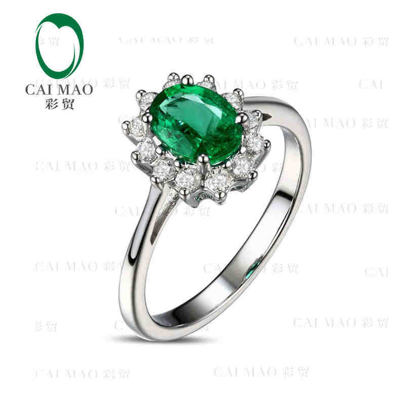 CaiMao 0.81 ct Natural Emerald 18KT/750 White Gold 0.38 ct Full Cut Diamond Engagement Ring Jewelry Gemstone colombian thomas earnshaw часы thomas earnshaw es 0022 06 коллекция investigator