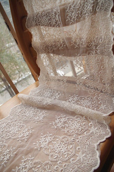 20yards cream lace fabric, ivory embroidered lace with double edges, wedding table runner lace, burlap lace trim