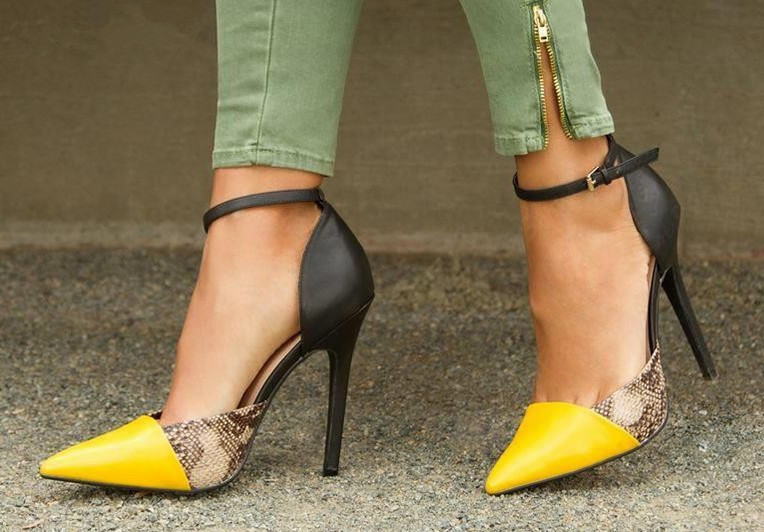 Hot Sale Sexy Snakeskin Covey Heels Shoes Woman Mixed Color Buckle Strap Pumps Pointed Toe High Heels Dress Shoes Party Shoes