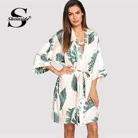 Sheinside Summer Tropical Plant Print V Neck Belted Robe Women Half Sleeve Sleepwear Robe 2019 Elegant Print Satin Dressing Gown