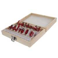 15PCS 1 4 Professional Shank Tungsten Carbide Router Bit Set With Wood Case Box